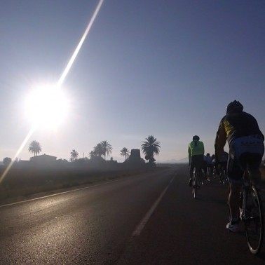 An early morning cycle before the wine fiesta begins